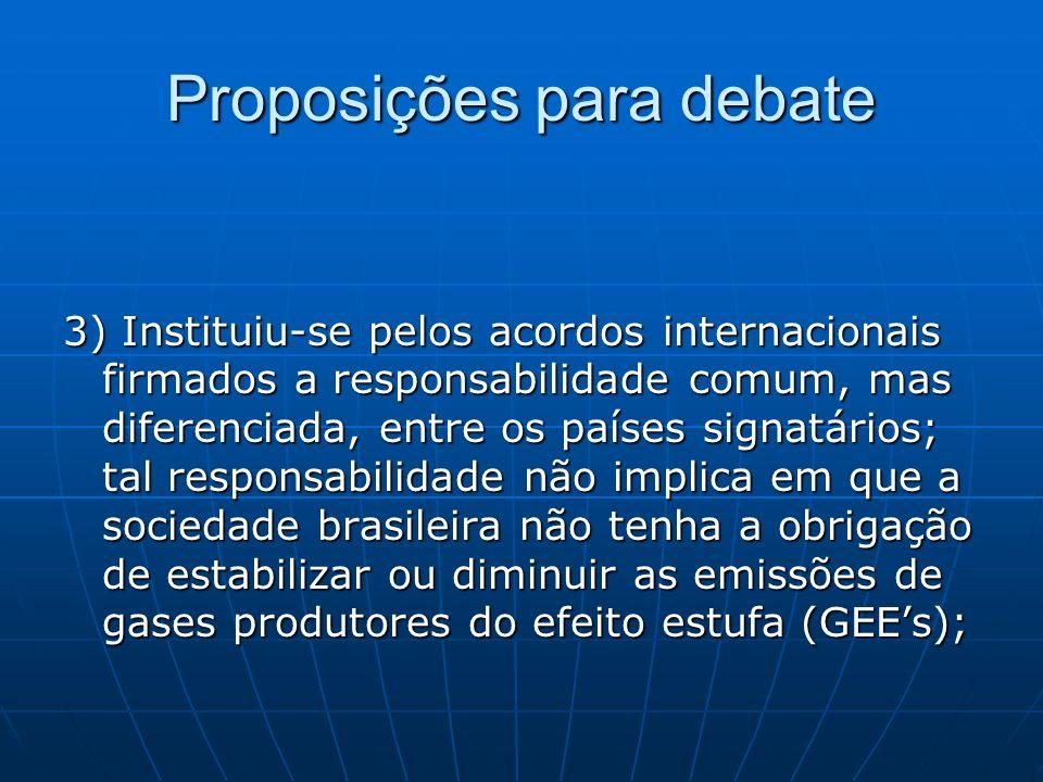 Proposições para debate 3) Instituiu-se pelos acordos internacionais firmados a responsabilidade comum, mas diferenciada, entre os países signatários;