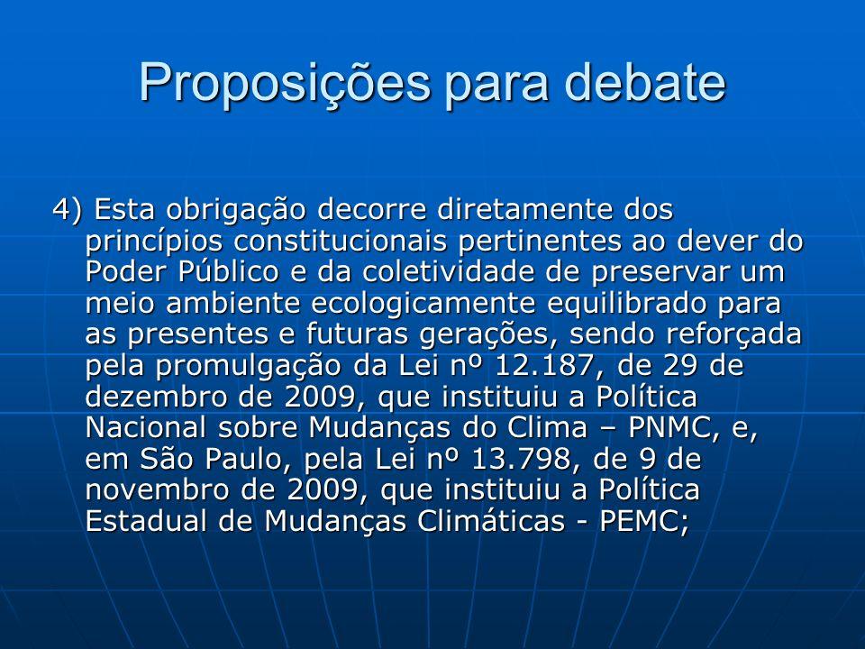 Proposições para debate 4) Esta obrigação decorre diretamente dos princípios constitucionais pertinentes ao dever do Poder Público e da coletividade d