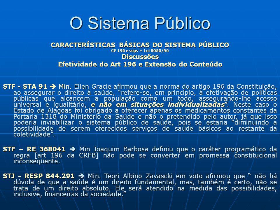 O Sistema Público CARACTERÍSTICAS BÁSICAS DO SISTEMA PÚBLICO CF 196 e segs + Lei 8080/90 Discussões Efetividade do Art 196 e Extensão do Conteúdo STF