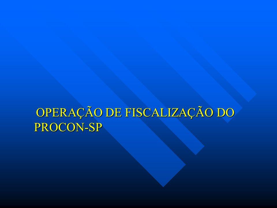 OPERAÇÃO DE FISCALIZAÇÃO DO PROCON-SP OPERAÇÃO DE FISCALIZAÇÃO DO PROCON-SP