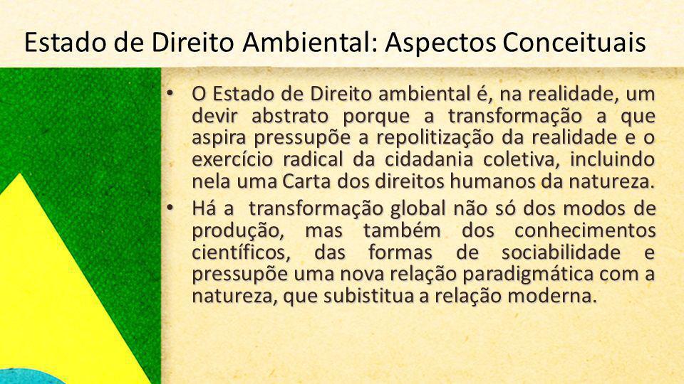Estado de Direito Ambiental: Aspectos Conceituais O Estado de Direito ambiental é, na realidade, um devir abstrato porque a transformação a que aspira