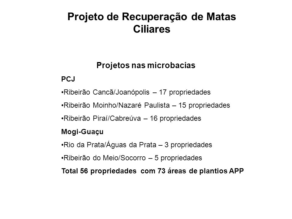 Projetos nas microbacias PCJ Ribeirão Cancã/Joanópolis – 17 propriedades Ribeirão Moinho/Nazaré Paulista – 15 propriedades Ribeirão Piraí/Cabreúva – 1