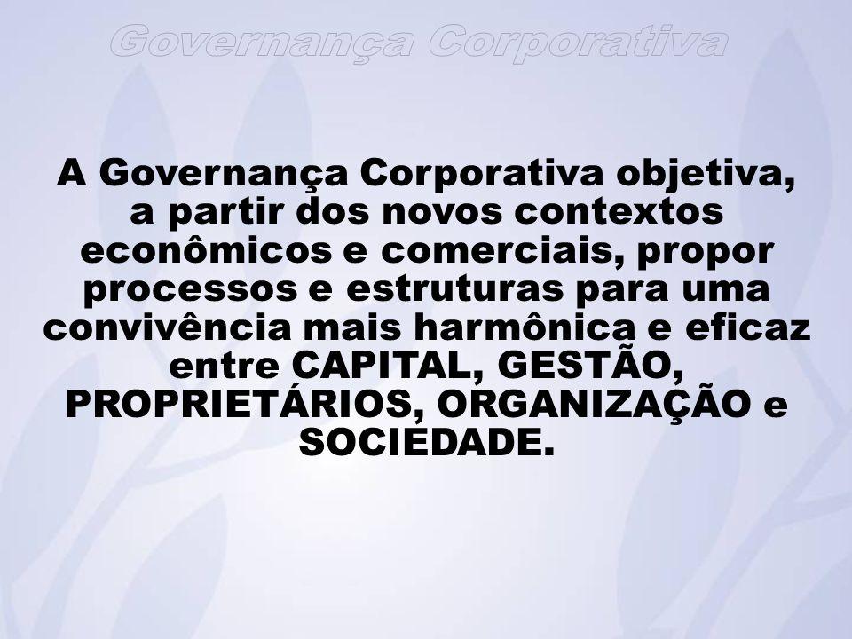A Governança Corporativa objetiva, a partir dos novos contextos econômicos e comerciais, propor processos e estruturas para uma convivência mais harmônica e eficaz entre CAPITAL, GESTÃO, PROPRIETÁRIOS, ORGANIZAÇÃO e SOCIEDADE.