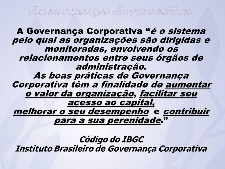A Governança Corporativa é o sistema pelo qual as organizações são dirigidas e monitoradas, envolvendo os relacionamentos entre seus órgãos de administração.