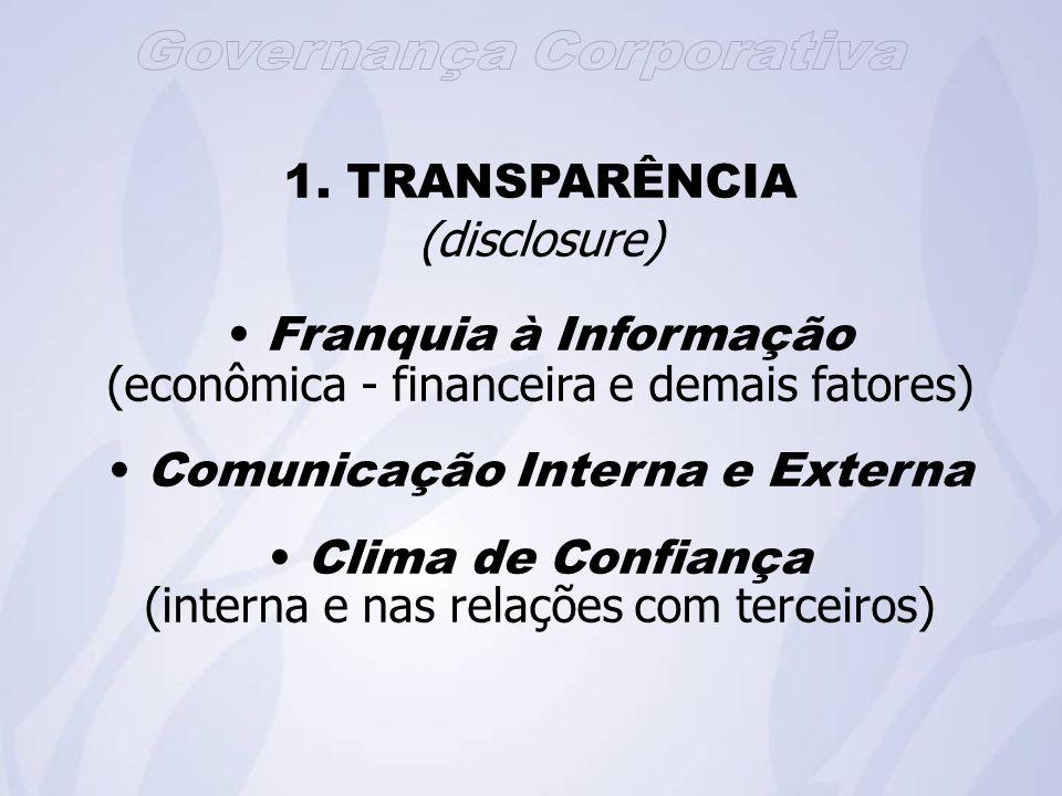 1. TRANSPARÊNCIA (disclosure) Franquia à Informação (econômica - financeira e demais fatores) Comunicação Interna e Externa Clima de Confiança (intern