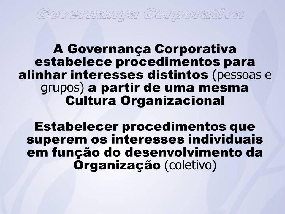 A Governança Corporativa estabelece procedimentos para alinhar interesses distintos (pessoas e grupos) a partir de uma mesma Cultura Organizacional Estabelecer procedimentos que superem os interesses individuais em função do desenvolvimento da Organização (coletivo)