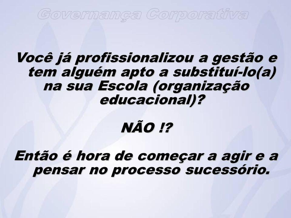 Você já profissionalizou a gestão e tem alguém apto a substituí-lo(a) na sua Escola (organização educacional).