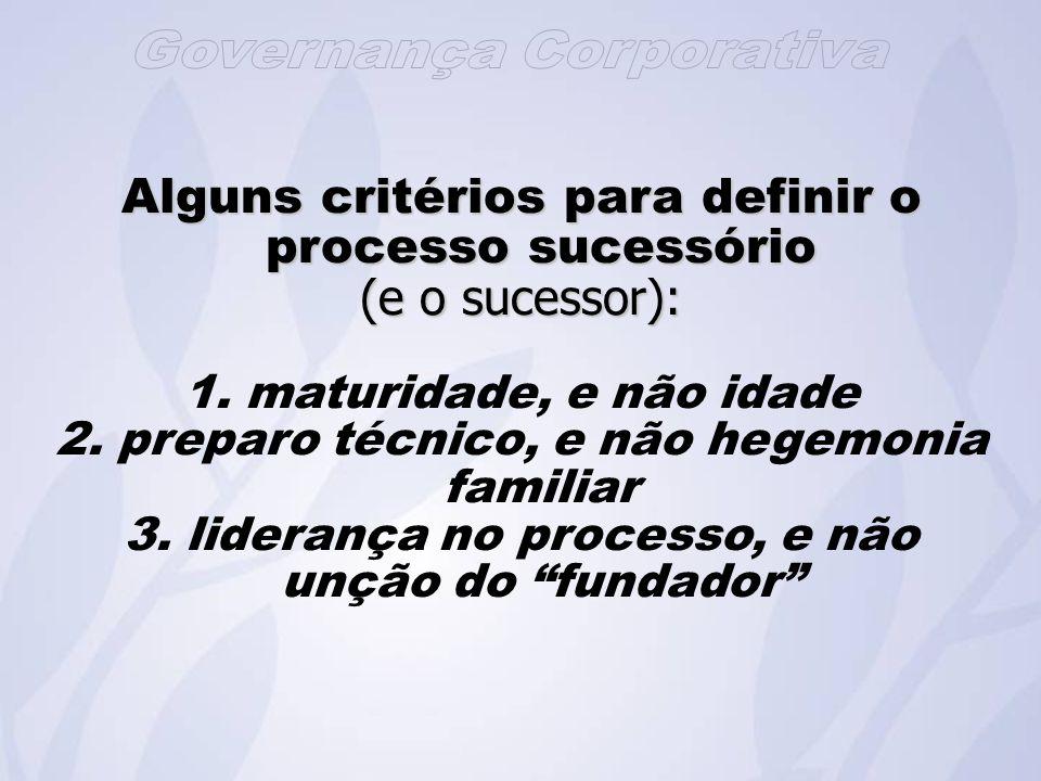 Alguns critérios para definir o processo sucessório (e o sucessor): 1.