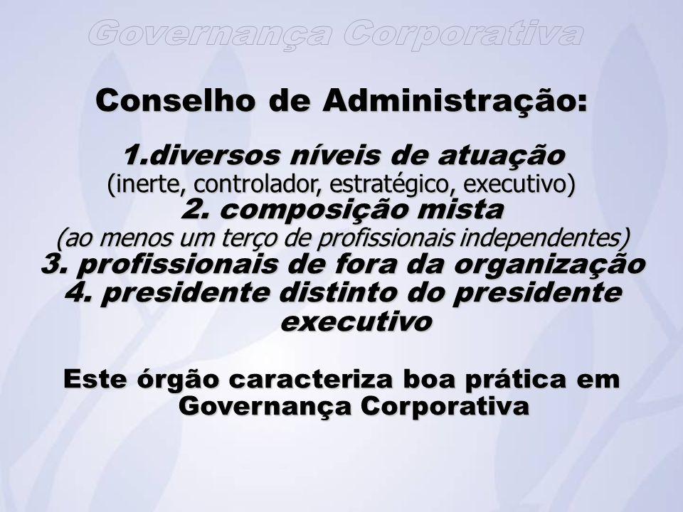 Conselho de Administração: 1.diversos níveis de atuação (inerte, controlador, estratégico, executivo) 2.