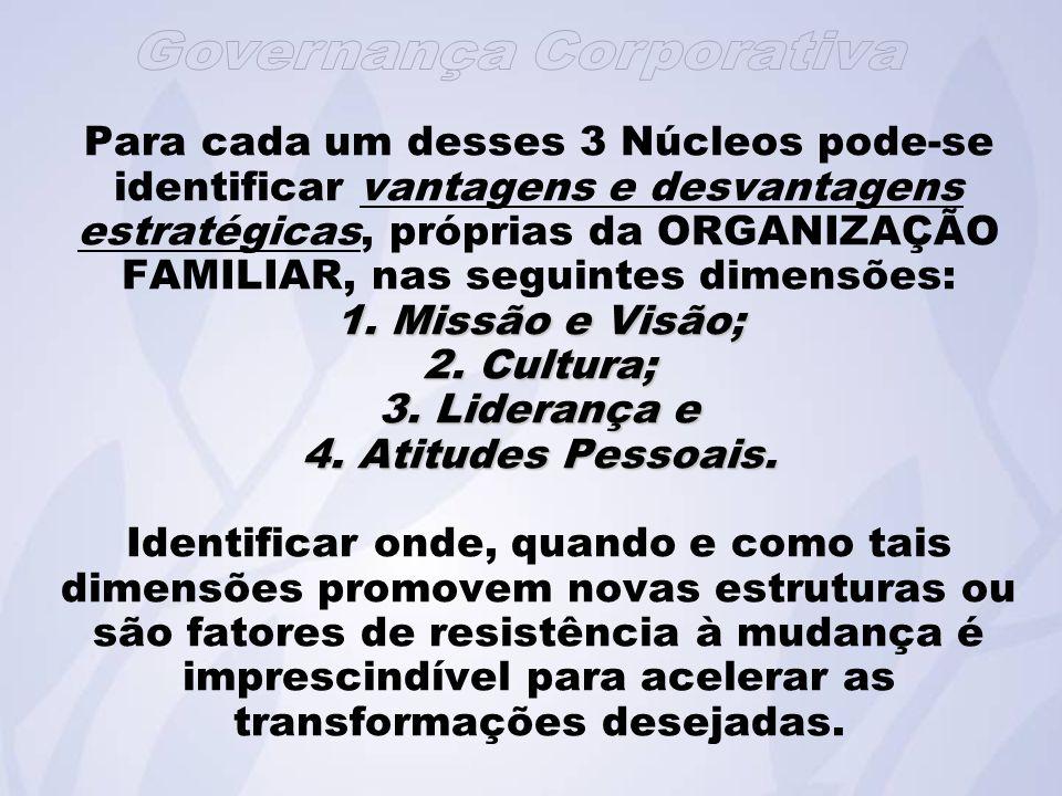 1.Missão e Visão; 2. Cultura; 3. Liderança e 4. Atitudes Pessoais.