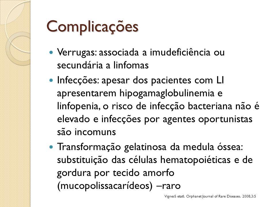 Complicações Verrugas: associada a imudeficiência ou secundária a linfomas Infecções: apesar dos pacientes com LI apresentarem hipogamaglobulinemia e