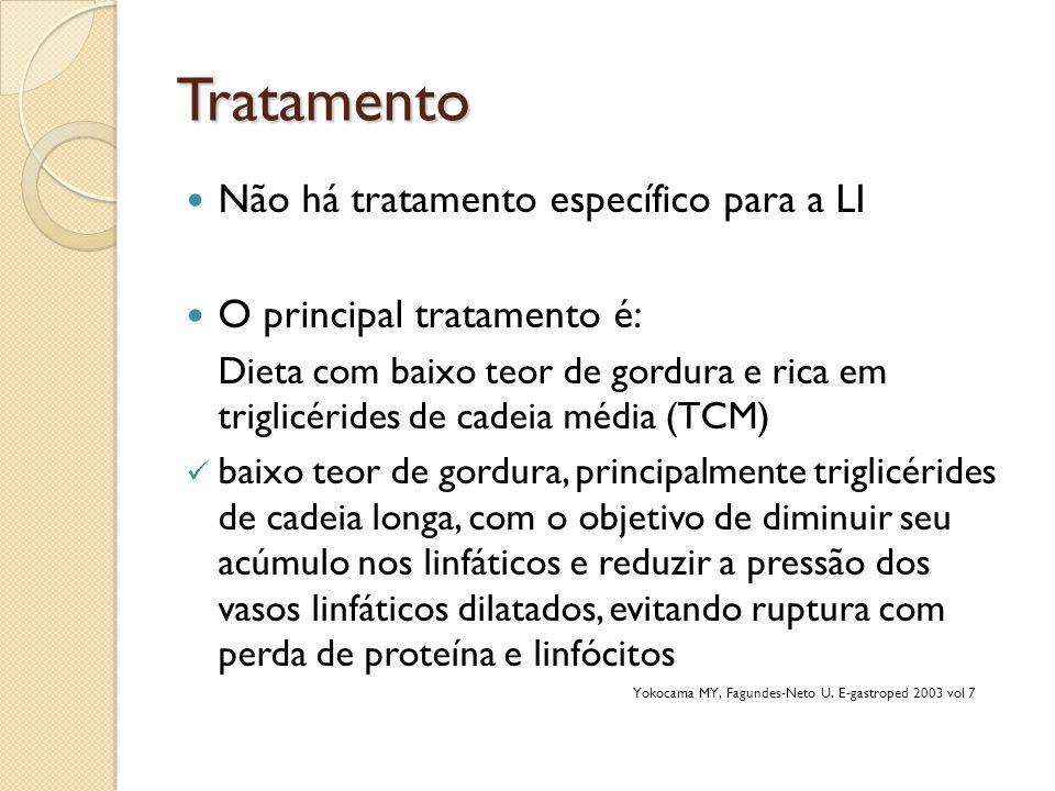 Tratamento Não há tratamento específico para a LI O principal tratamento é: Dieta com baixo teor de gordura e rica em triglicérides de cadeia média (T