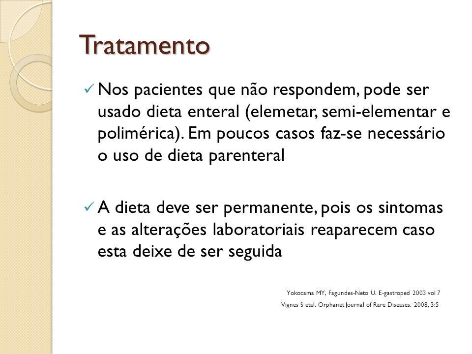 Tratamento Nos pacientes que não respondem, pode ser usado dieta enteral (elemetar, semi-elementar e polimérica). Em poucos casos faz-se necessário o