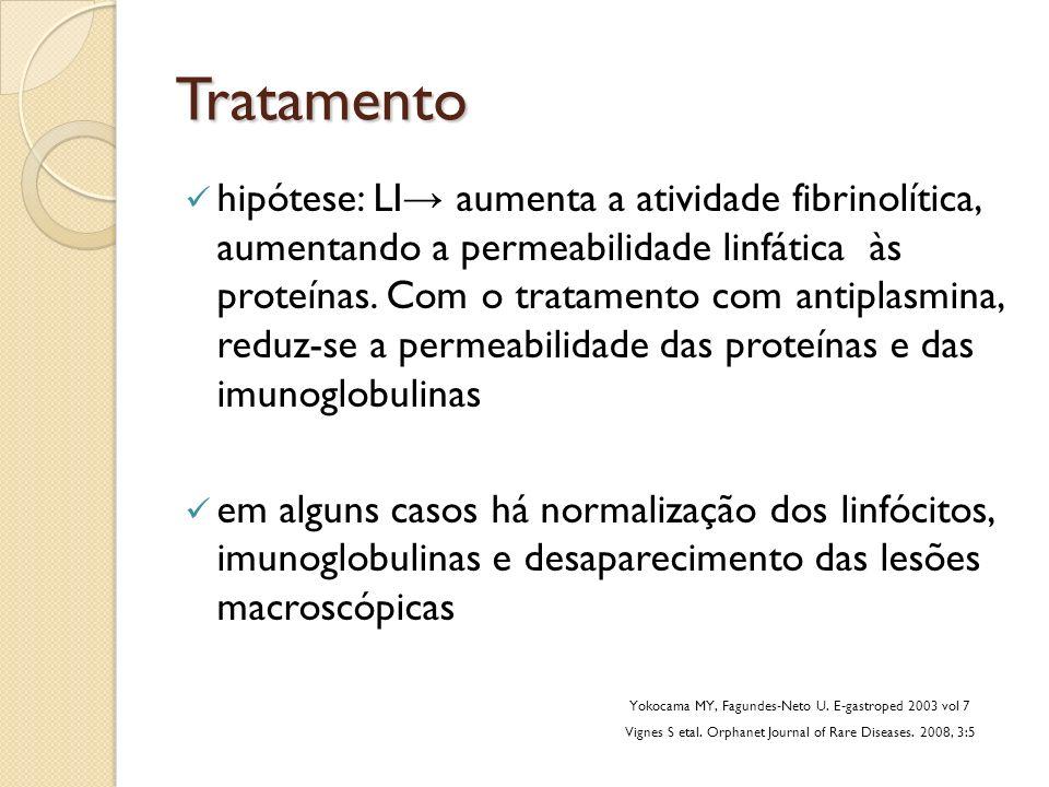Tratamento hipótese: LI aumenta a atividade fibrinolítica, aumentando a permeabilidade linfática às proteínas. Com o tratamento com antiplasmina, redu