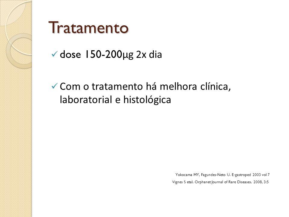 Tratamento dose 150-200 µg 2x dia Com o tratamento há melhora clínica, laboratorial e histológica Yokocama MY, Fagundes-Neto U. E-gastroped 2003 vol 7