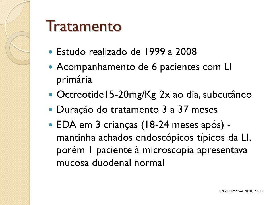 Tratamento Estudo realizado de 1999 a 2008 Acompanhamento de 6 pacientes com LI primária Octreotide15-20mg/Kg 2x ao dia, subcutâneo Duração do tratame