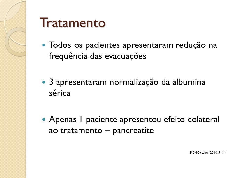 Tratamento Todos os pacientes apresentaram redução na frequência das evacuações 3 apresentaram normalização da albumina sérica Apenas 1 paciente apres