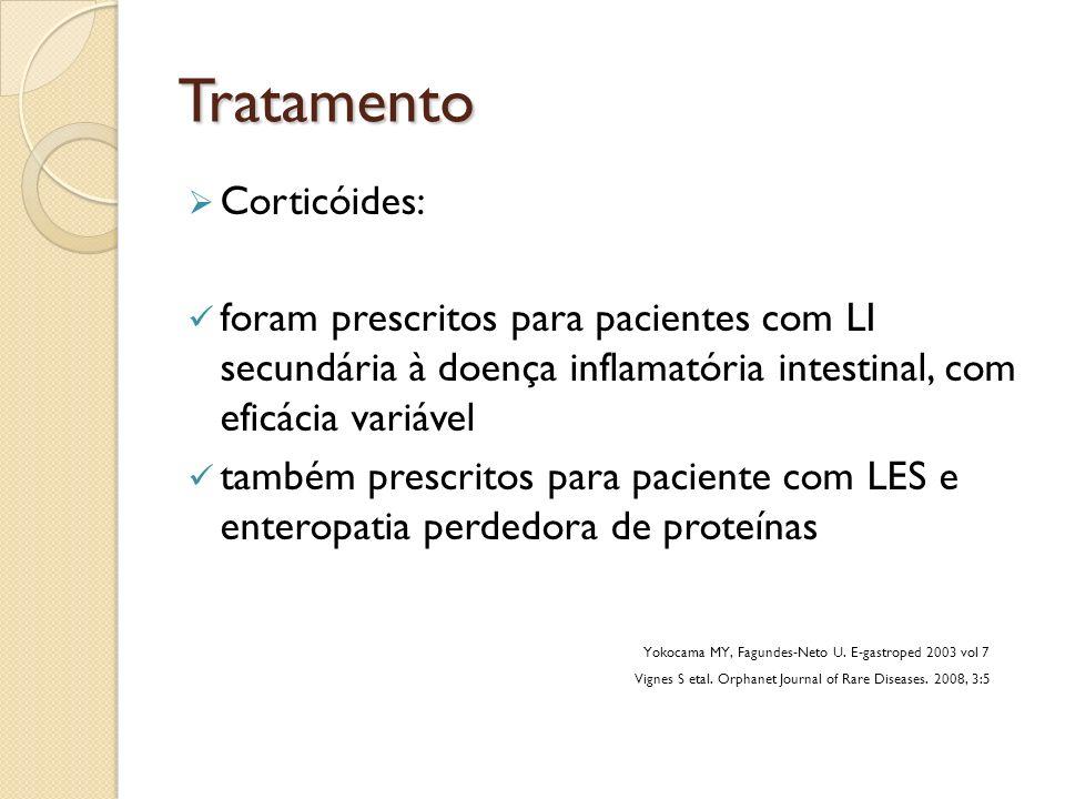 Tratamento Corticóides: foram prescritos para pacientes com LI secundária à doença inflamatória intestinal, com eficácia variável também prescritos pa