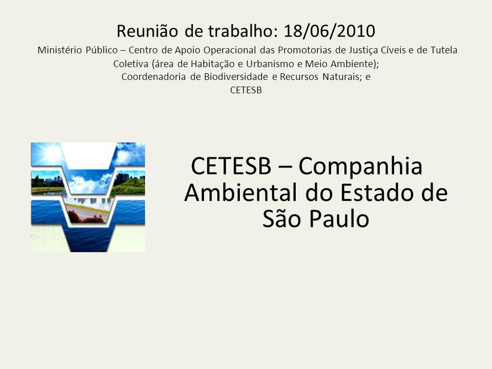 Reunião de trabalho: 18/06/2010 Ministério Público – Centro de Apoio Operacional das Promotorias de Justiça Cíveis e de Tutela Coletiva (área de Habitação e Urbanismo e Meio Ambiente); Coordenadoria de Biodiversidade e Recursos Naturais; e CETESB CETESB – Companhia Ambiental do Estado de São Paulo