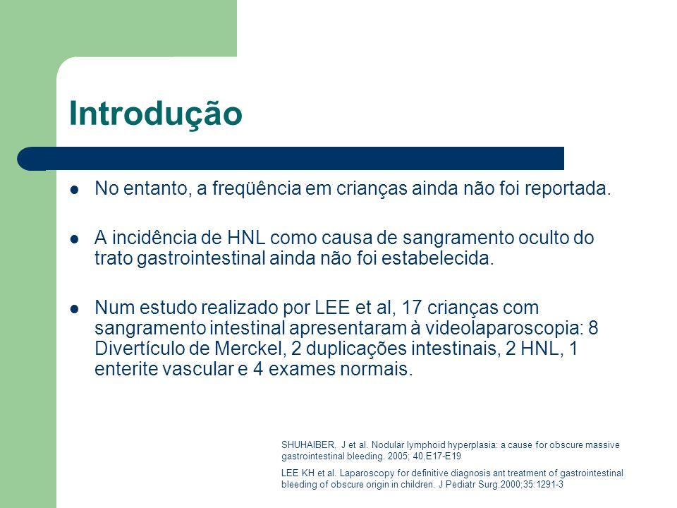 Introdução No entanto, a freqüência em crianças ainda não foi reportada. A incidência de HNL como causa de sangramento oculto do trato gastrointestina