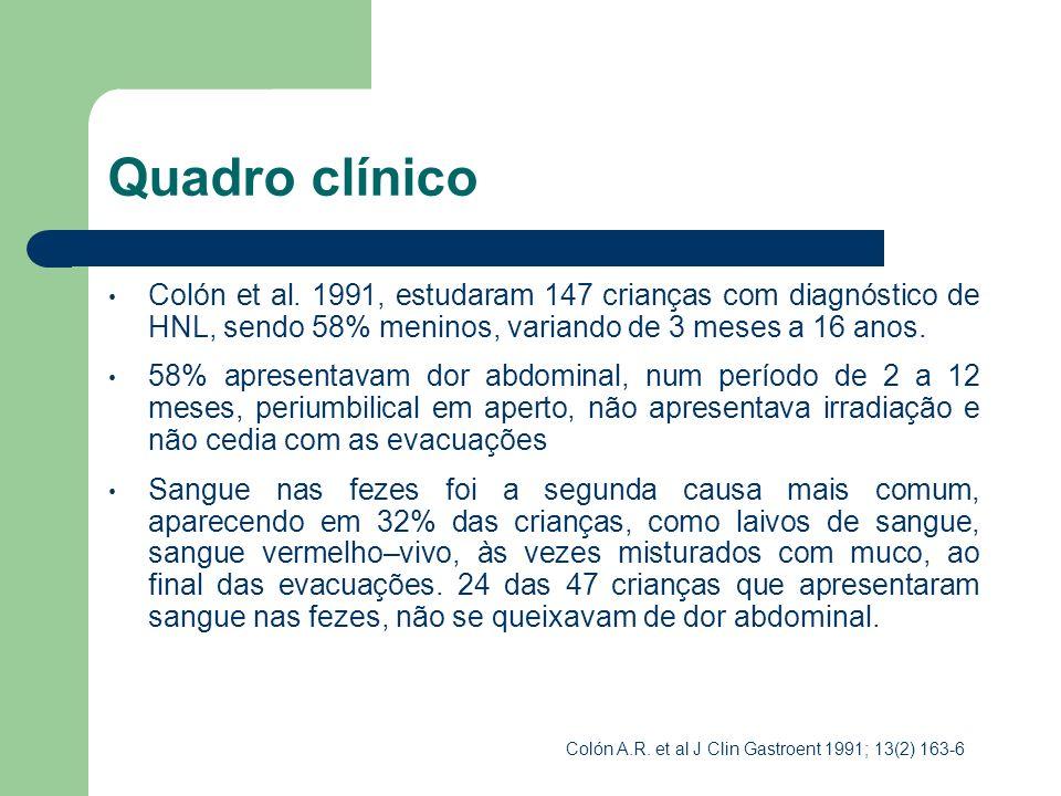 Quadro clínico Num estudo realizado por Penna et al, com 14 crianças (entre 8 meses e 12 anos), em 1993, foram observados os seguintes sintomas: Enterorragia (71,4%) Diarreia (35,7%) Distensão abdominal (14,2%) Encoprese (14,2%) Penna FJ, col.