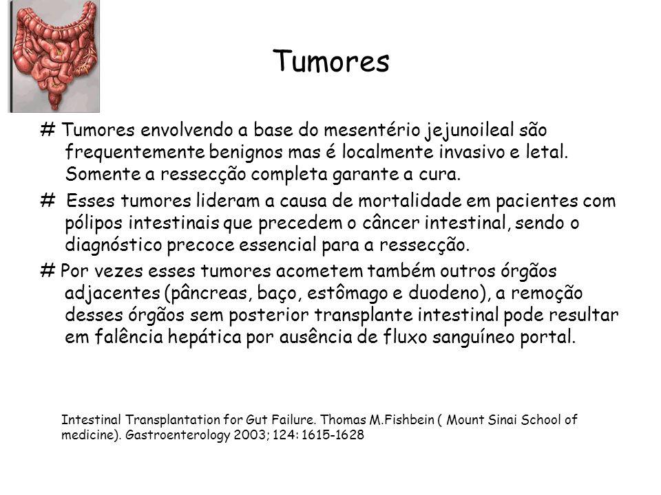 Tumores # Tumores envolvendo a base do mesentério jejunoileal são frequentemente benignos mas é localmente invasivo e letal. Somente a ressecção compl