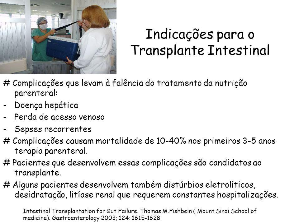 Indicações para o Transplante Intestinal # Complicações que levam à falência do tratamento da nutrição parenteral: -Doença hepática -Perda de acesso v