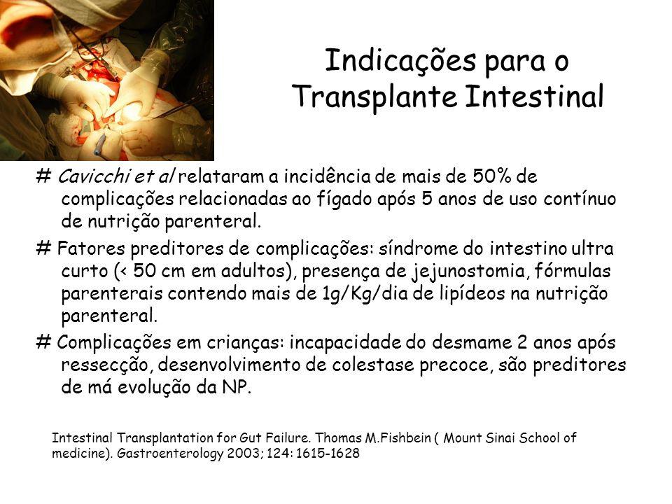 Indicações para o Transplante Intestinal # Cavicchi et al relataram a incidência de mais de 50% de complicações relacionadas ao fígado após 5 anos de uso contínuo de nutrição parenteral.