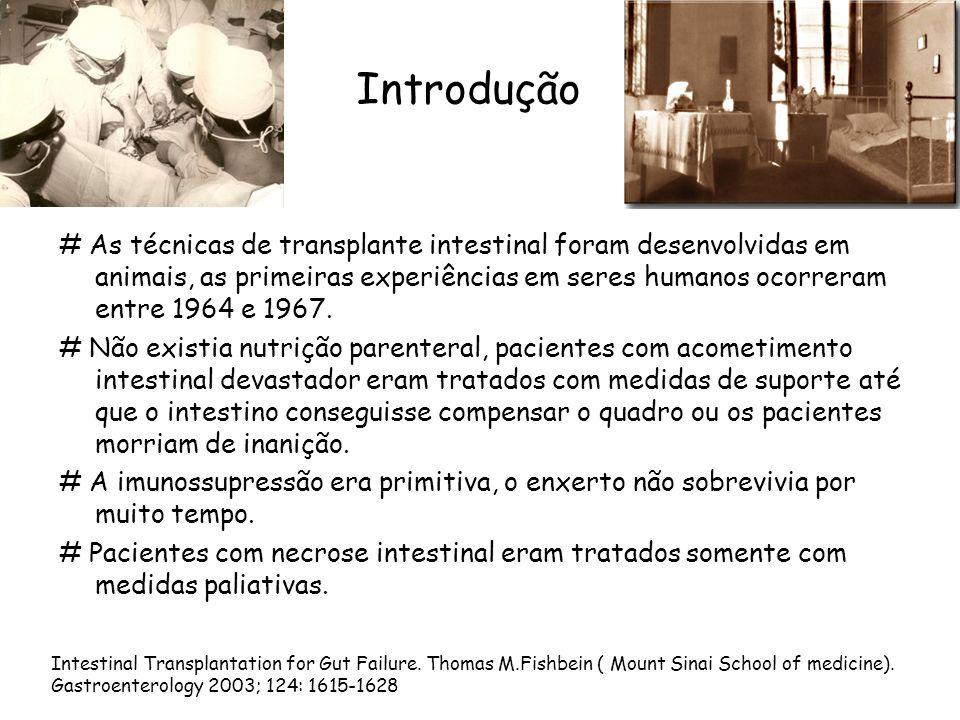 Introdução # As técnicas de transplante intestinal foram desenvolvidas em animais, as primeiras experiências em seres humanos ocorreram entre 1964 e 1967.
