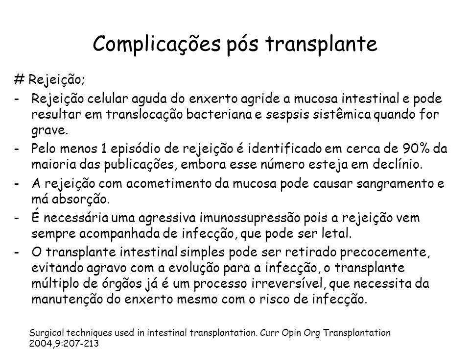 Complicações pós transplante # Rejeição; -Rejeição celular aguda do enxerto agride a mucosa intestinal e pode resultar em translocação bacteriana e se