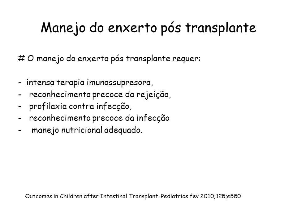 Manejo do enxerto pós transplante # O manejo do enxerto pós transplante requer: - intensa terapia imunossupresora, -reconhecimento precoce da rejeição, -profilaxia contra infecção, -reconhecimento precoce da infecção - manejo nutricional adequado.