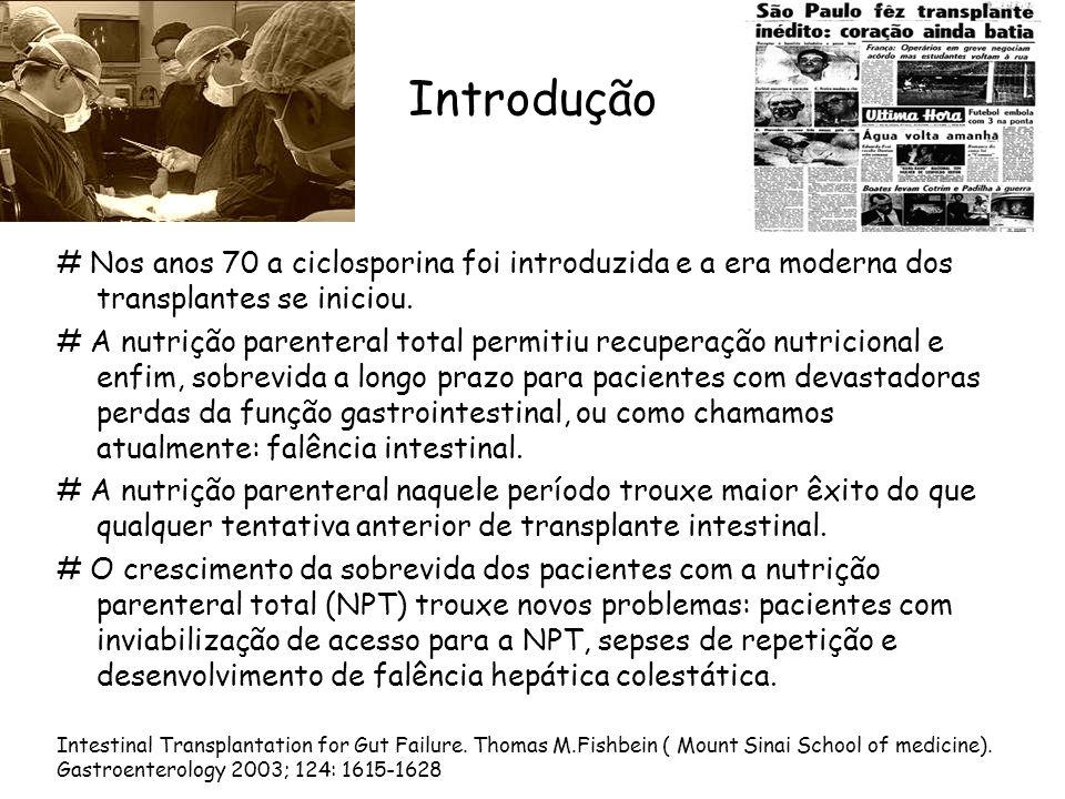 Introdução # Nos anos 70 a ciclosporina foi introduzida e a era moderna dos transplantes se iniciou. # A nutrição parenteral total permitiu recuperaçã