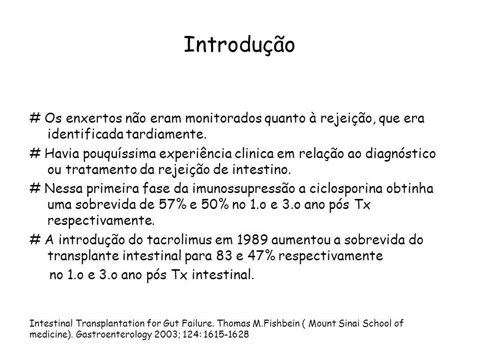 Causas de transplante intestinal em crianças Outcomes in Children after Intestinal Transplant.