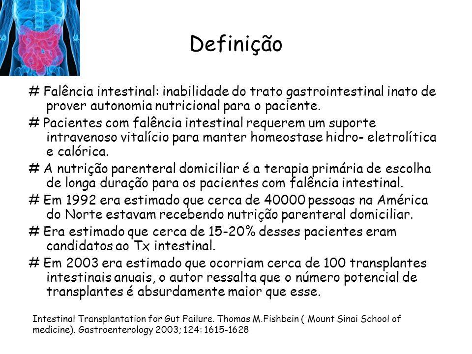 Indicações para o Transplante Intestinal # Complicações que levam à falência do tratamento da nutrição parenteral: -Doença hepática -Perda de acesso venoso -Sepses recorrentes # Complicações causam mortalidade de 10-40% nos primeiros 3-5 anos terapia parenteral.
