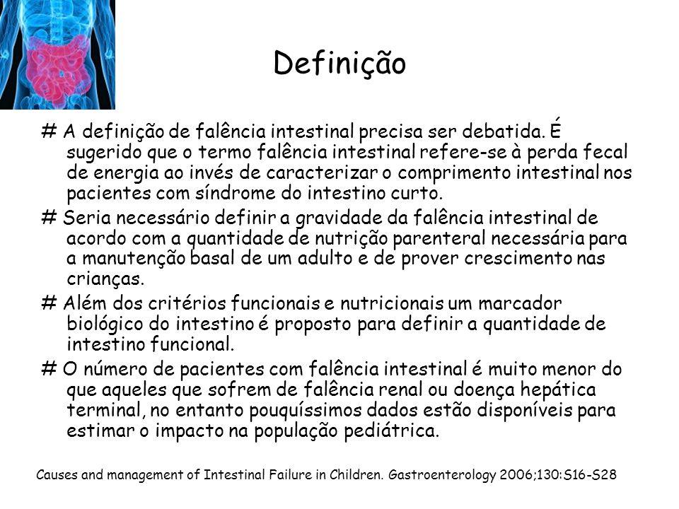 Definição # A definição de falência intestinal precisa ser debatida. É sugerido que o termo falência intestinal refere-se à perda fecal de energia ao