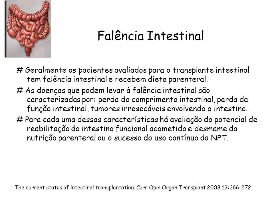 Falência Intestinal # Geralmente os pacientes avaliados para o transplante intestinal tem falência intestinal e recebem dieta parenteral. # As doenças
