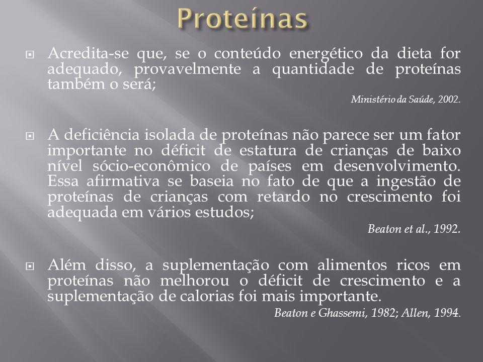 Acredita-se que, se o conteúdo energético da dieta for adequado, provavelmente a quantidade de proteínas também o será; Ministério da Saúde, 2002. A d