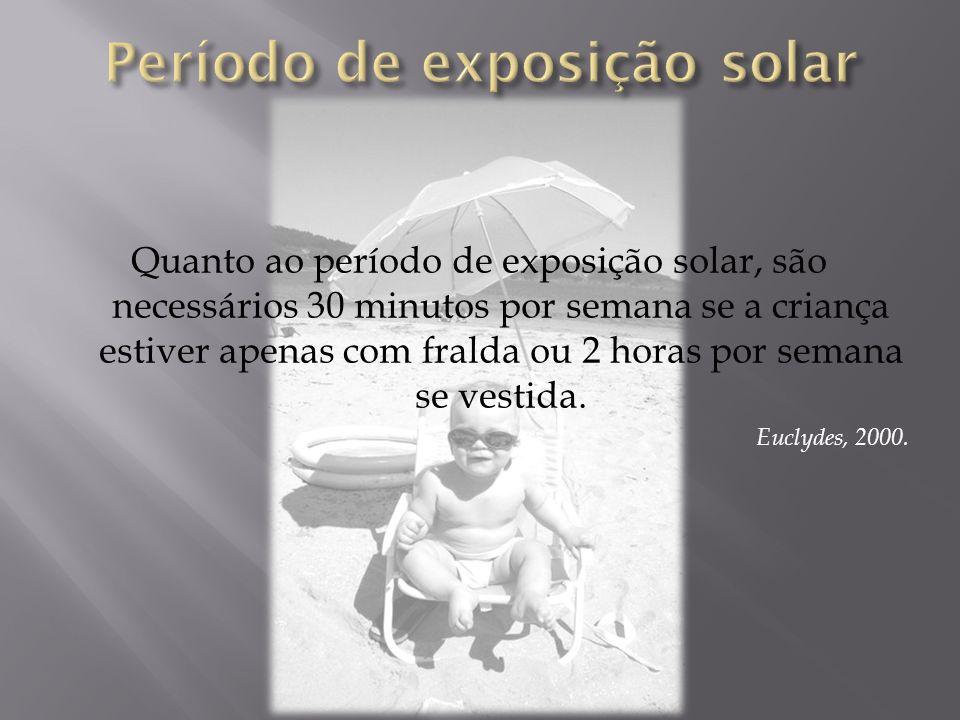Quanto ao período de exposição solar, são necessários 30 minutos por semana se a criança estiver apenas com fralda ou 2 horas por semana se vestida. E