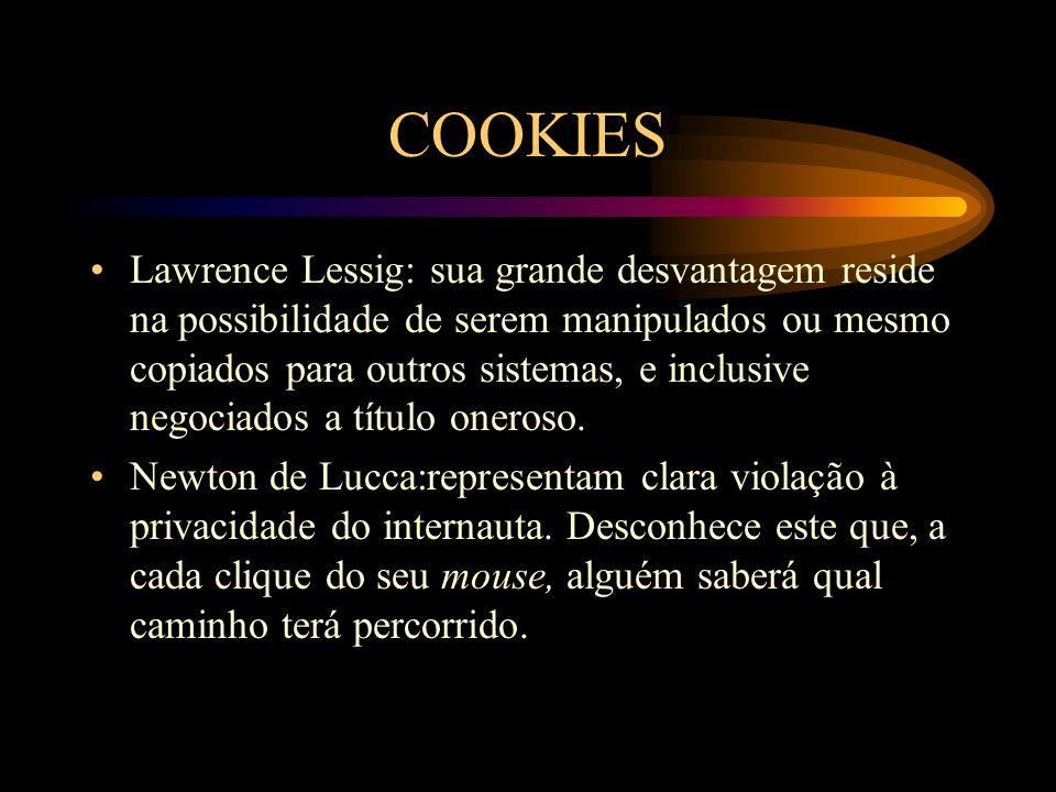 COOKIES Lawrence Lessig: sua grande desvantagem reside na possibilidade de serem manipulados ou mesmo copiados para outros sistemas, e inclusive negoc