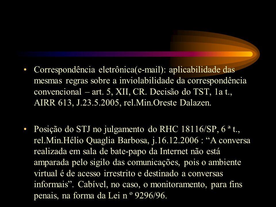 Correspondência eletrônica(e-mail): aplicabilidade das mesmas regras sobre a inviolabilidade da correspondência convencional – art. 5, XII, CR. Decisã