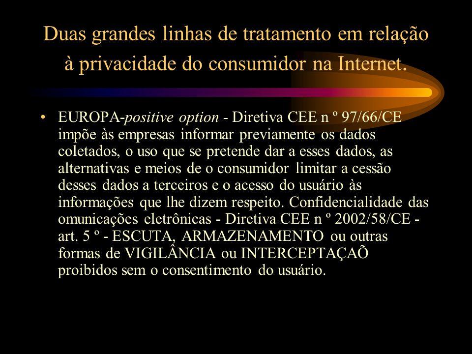 Duas grandes linhas de tratamento em relação à privacidade do consumidor na Internet. EUROPA-positive option - Diretiva CEE n º 97/66/CE impõe às empr