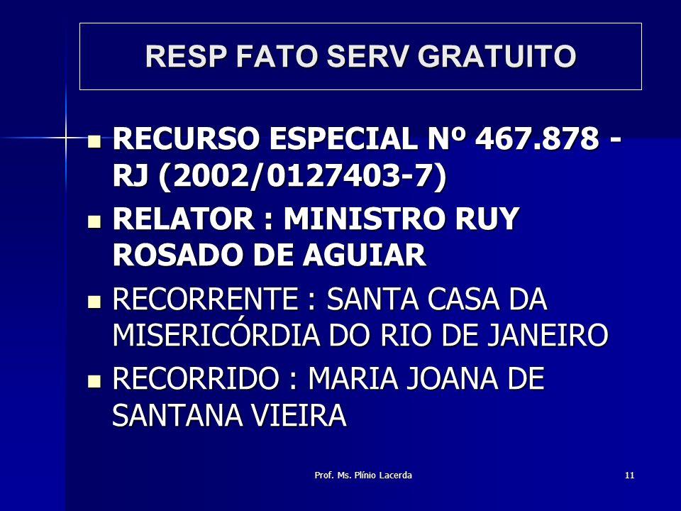 Prof. Ms. Plínio Lacerda11 RESP FATO SERV GRATUITO RECURSO ESPECIAL Nº 467.878 - RJ (2002/0127403-7) RECURSO ESPECIAL Nº 467.878 - RJ (2002/0127403-7)