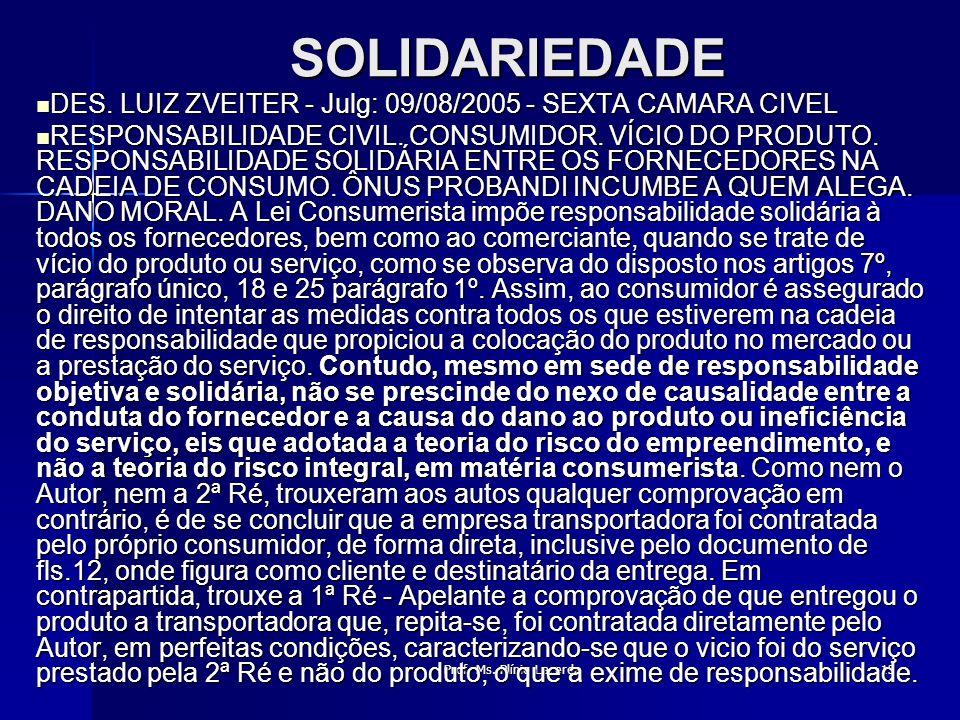 Prof. Ms. Plínio Lacerda13 SOLIDARIEDADE DES. LUIZ ZVEITER - Julg: 09/08/2005 - SEXTA CAMARA CIVEL DES. LUIZ ZVEITER - Julg: 09/08/2005 - SEXTA CAMARA