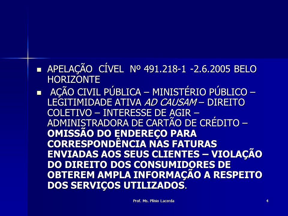 Prof. Ms. Plínio Lacerda4 APELAÇÃO CÍVEL Nº 491.218-1 -2.6.2005 BELO HORIZONTE APELAÇÃO CÍVEL Nº 491.218-1 -2.6.2005 BELO HORIZONTE AÇÃO CIVIL PÚBLICA