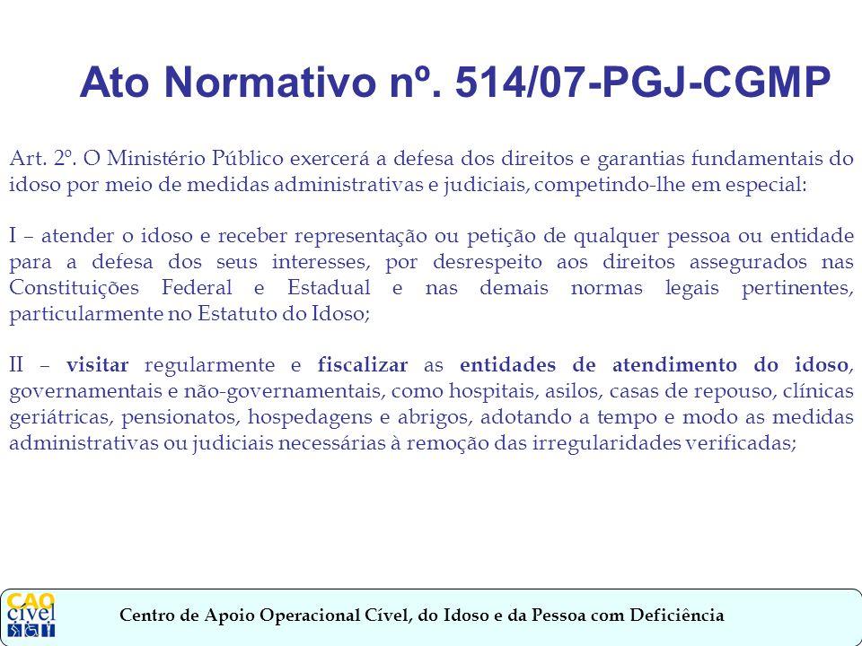 Centro de Apoio Operacional Cível, do Idoso e da Pessoa com Deficiência Intervenção em casos de interesses individuais indisponíveis