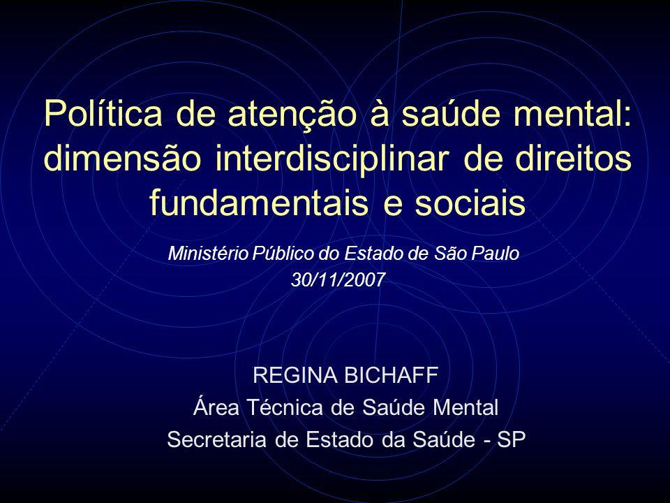 Política de atenção à saúde mental: dimensão interdisciplinar de direitos fundamentais e sociais Ministério Público do Estado de São Paulo 30/11/2007