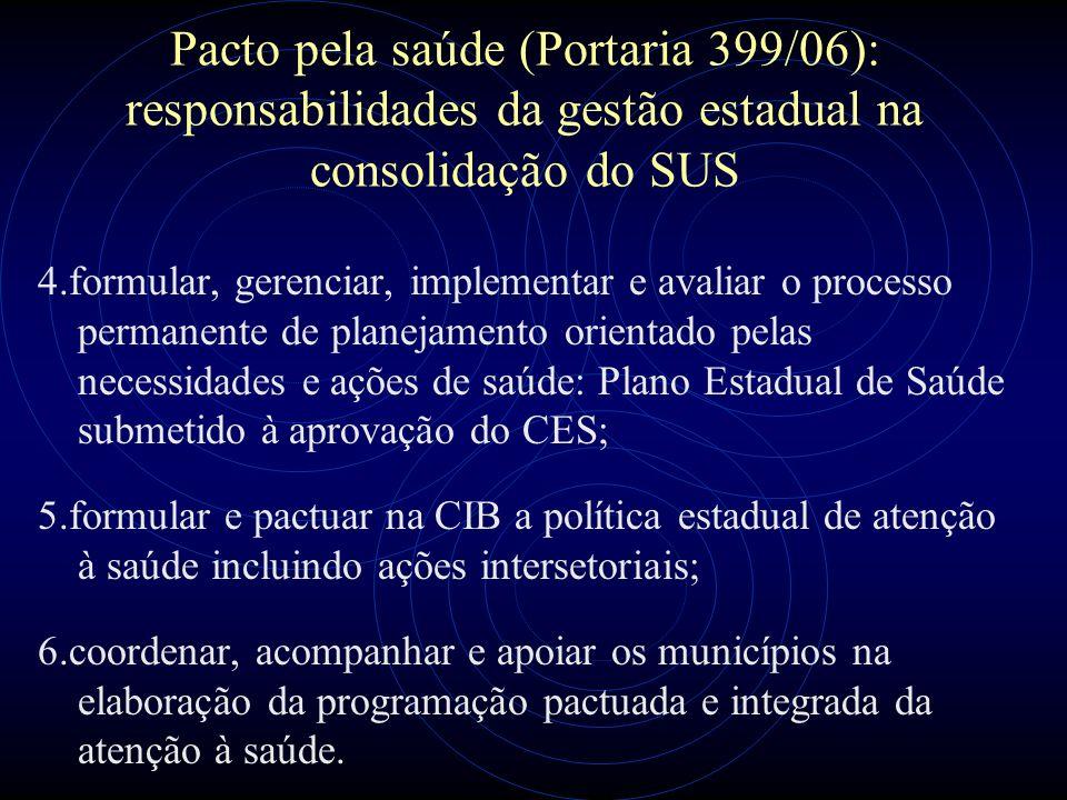 Pacto pela saúde (Portaria 399/06): responsabilidades da gestão estadual na consolidação do SUS 4.formular, gerenciar, implementar e avaliar o process