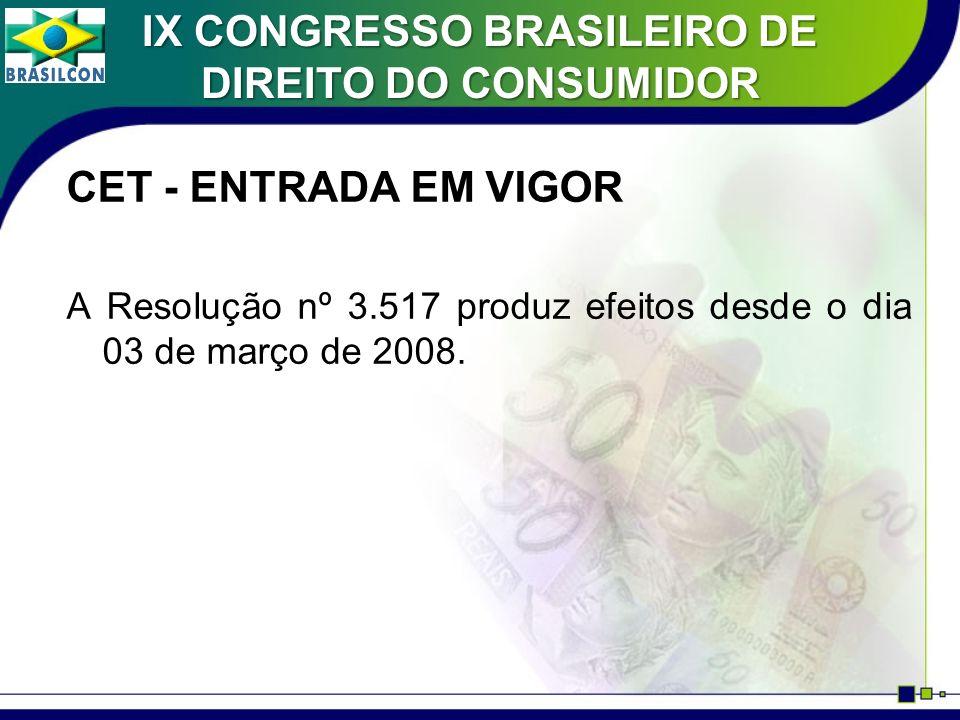 CET - ENTRADA EM VIGOR A Resolução nº 3.517 produz efeitos desde o dia 03 de março de 2008. IX CONGRESSO BRASILEIRO DE DIREITO DO CONSUMIDOR