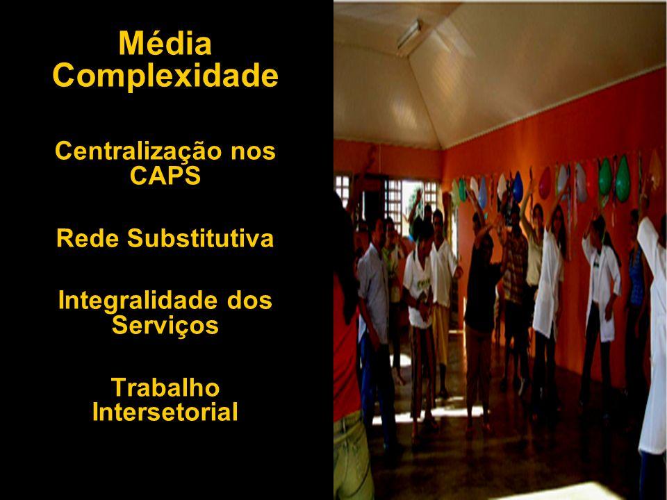 Média Complexidade Centralização nos CAPS Rede Substitutiva Integralidade dos Serviços Trabalho Intersetorial