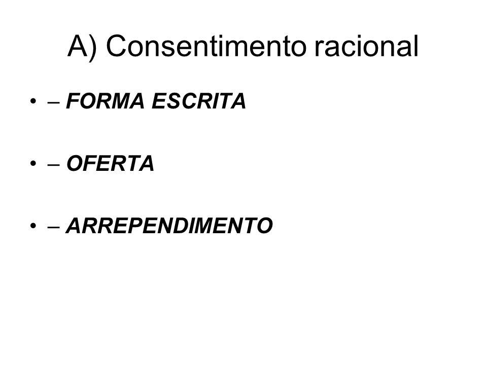 A) Consentimento racional – FORMA ESCRITA – OFERTA – ARREPENDIMENTO